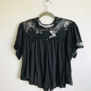 NWOT Free People Lace Diamond Embroidered Top
